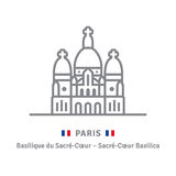 Paris icon with Sacre-Coeur basilica and flag. Paris line icon. Sacre-Cœur Basilica and flag vector illustration Stock Photo