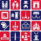 Paris icons. A set of various icons from Paris and France Royalty Free Stock Image
