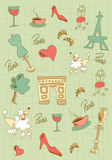 Paris icons design. Hand made Paris icons on green background. Vector avaliable Stock Photography