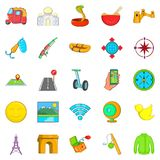 Paris icons set, cartoon style. Paris icons set. Cartoon set of 25 paris icons for web isolated on white background Stock Photo