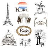 Paris icons set. Hand-drawn France landmarks: Eiffel Royalty Free Stock Photos