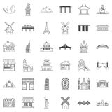 Paris icons set, outline style. Paris icons set. Outline style of 36 paris vector icons for web isolated on white background Royalty Free Stock Photo