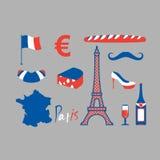 Paris icons set. Traditional French national symbols. Eiffel Tow Royalty Free Stock Photos