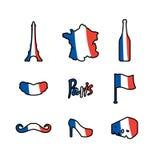 Paris icons set. Traditional French national symbols. Eiffel Tow Stock Photo