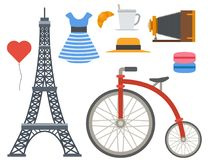 Paris icons vector famous travel cuisine traditional modern france culture europe eiffel fashion design architecture. Symbols illustration. Famous travel love Royalty Free Stock Photos