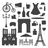 Paris icons vector silhouette famous travel cuisine traditional modern france culture europe eiffel fashion design. Architecture illustration. Famous travel royalty free illustration