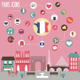Paris-Ikonen eingestellt Lizenzfreies Stockbild