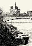Paris - Ile de la cite - barges Royalty Free Stock Photography