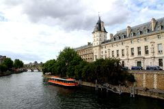 When in Paris...Ile de la cite, beautifill Sein river royalty free stock image