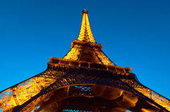 PARIS : Illuminated Eiffel tower at night Royalty Free Stock Image
