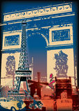 Paris illustration. Illustration of notable Paris landmarks vector illustration
