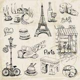 Paris illustrationuppsättning royaltyfri illustrationer