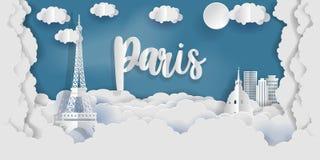 Paris im Papier schnitt Art mit Stadt und Eiffelturm, Frankreich Lizenzfreies Stockfoto