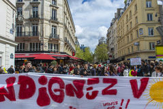 Paris, Indignants Protest Elections Stock Images