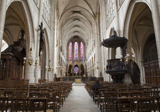 Paris - interior of gothic church Royalty Free Stock Image