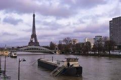 Paris inundou pelo rio Seine foto de stock royalty free