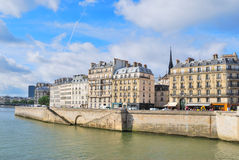 Paris. Island Cite embankment Stock Images
