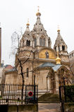 PARIS-JANUARY 10: The Alexander Nevsky Cathedral on January 10,2013 in Paris. Royalty Free Stock Photo