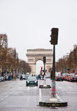PARIS-JANUARY 10: The Avenue des Champs-Élysée towards the Place Charles de Gaulle on January 10,2013 in Paris. Stock Photos