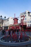The Moulin Rouge , Paris, France. It is a famous cabaret built in 1889, locating in the Paris red-light district of Pigalle. PARIS - January 14, 2018 : The royalty free stock photography