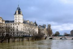 The Seine in Paris in flood royalty free stock photography