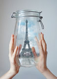 Paris in jar. Concept graphis - symbol of dreams Royalty Free Stock Images