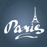 Paris jeans texture. Paris hand drawn vector lettering  with Eiffel Tower silhouette. Modern calligraphy brush lettering. Paris ink lettering. Design element for Stock Photography