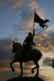 Paris - Joan of Arc statue. Silhouette royalty free stock photography