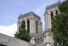 Paris Juli 18th: Detaljer av Notre Dame Cathedral från Paris i Frankrike Arkivbilder