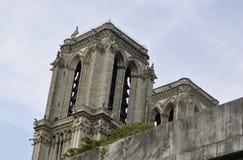 Paris Juli 18th: Detaljer av Notre Dame Cathedral från Paris i Frankrike Royaltyfri Fotografi