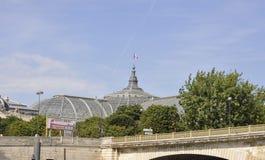 Paris Juli 18th: Historisk byggnad på banken av Seine River från Paris i Frankrike Arkivfoto