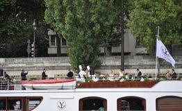 Paris Juli 18th: Seine kryssningfartyg från Paris i Frankrike Arkivbild
