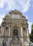 Paris Juli 18th: SpringbrunnSaint Michel från Paris i Frankrike Royaltyfri Fotografi