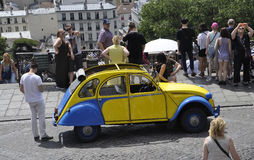 Paris,July 17:Ancient Car front of Basilica Sacre Coeur from Montmartre in Paris Royalty Free Stock Photos