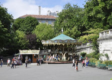Paris,July 17:Carousel front of Basilica Sacre Coeur from Montmartre in Paris Stock Photo
