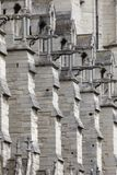 Gargoyles on the south side of Notre Dame. Paris - July 31, 2017: A line of gargoyles on the southern exterior of Notre Dame in Paris Stock Image