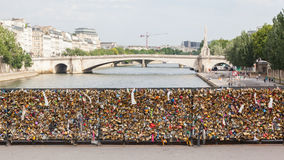 PARIS - JULY 27: Lockers at Pont des Arts symbolize love for eve Stock Image