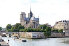 Paris, July 2017: Notre dame de paris river bay panorama. Stock Photos