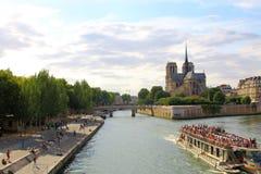 Paris, July 2017: Notre dame de paris river bay panorama. Royalty Free Stock Photo