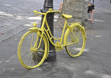 Paris,July 17:Street furniture Bicycle from Montmartre in Paris Stock Photos