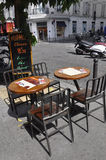 Paris,July 17:Terrace table from Montmartre in Paris stock images