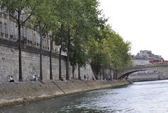 Paris,July 18th:Bank of Seine river from Paris in France Stock Photos