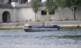 Paris,July 18th:Boat on Seine river from Paris in France Stock Image