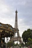 Paris,July 19th:Carousel near Eiffel Tower from Paris in France royalty free stock image