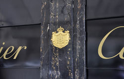 Paris,July 18th:Cote of Arms of Cartier Jewellery from Paris in France Stock Images