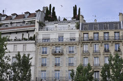 Paris,July 18th:Historic Buildings on Bank of Seine river from Paris in France Royalty Free Stock Images