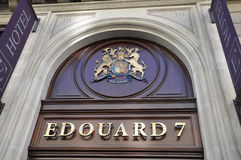 Paris,July 15th:Hotel Edouard 7 Sigla from Champs Elysees avenue in Paris Stock Photography