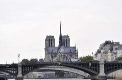 Paris,July 18th:Notre Dame Cahtedral and Pont de Sully over Seine from Paris in France Royalty Free Stock Photography