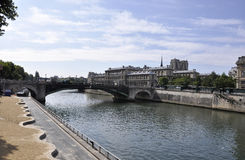 Paris,July 18th:Pont de Sully over Seine from Paris in France Royalty Free Stock Photos