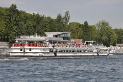 Paris,July 18th:Seine Cruise Boat from Paris in France royalty free stock photography